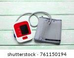 blood pressure monitor on... | Shutterstock . vector #761150194