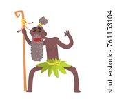 cheerful black skinned old man...   Shutterstock .eps vector #761153104