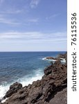 Small photo of lava field along the atlantic ocean in Lanzarote. Lanzarote a Spanish island, is one of the Canary Islands, in the Atlantic Ocean, appr. 125 km off the coast of Africa.