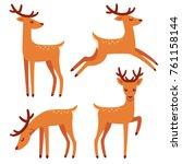 Cute Deer With Antlers  Vector...