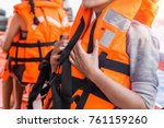 asian female in life jacket... | Shutterstock . vector #761159260