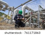 male worker inspection visual... | Shutterstock . vector #761171863