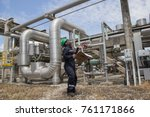 male worker inspection visual... | Shutterstock . vector #761171866