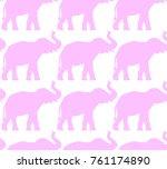 seamless pattern  silhouette of ... | Shutterstock .eps vector #761174890