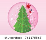 merry christmas card concept... | Shutterstock .eps vector #761175568