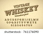 woodcut style vintage font ... | Shutterstock .eps vector #761176090