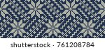 knitted pattern on a blue... | Shutterstock .eps vector #761208784