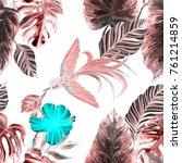 fashion print. watercolor... | Shutterstock . vector #761214859