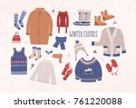 collection of winter clothes... | Shutterstock .eps vector #761220088