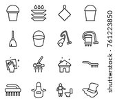 thin line icon set   bucket ... | Shutterstock .eps vector #761223850