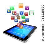 tablet pc computer gadget with... | Shutterstock . vector #761225530