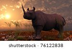 black rhinoceros - stock photo