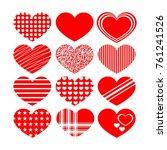 set of red heart icons design... | Shutterstock .eps vector #761241526