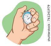 close body part  hand holding a ... | Shutterstock .eps vector #761241979