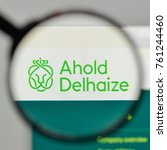 Small photo of Milan, Italy - November 1, 2017: Royal Ahold Delhaize logo on the website homepage.