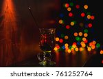 christmas glass of tea on the...   Shutterstock . vector #761252764