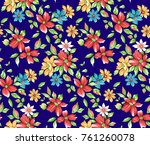 flower pattern navy background   Shutterstock . vector #761260078