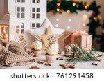 christmas delicious cupcakes...   Shutterstock . vector #761291458