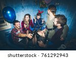 group of friends having party... | Shutterstock . vector #761292943