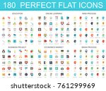 180 modern flat icon set of... | Shutterstock .eps vector #761299969
