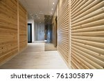 Spa resort hallway with saunas and shower
