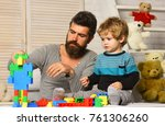boy and bearded man play... | Shutterstock . vector #761306260