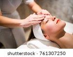 facial massage treatment by... | Shutterstock . vector #761307250