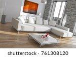 modern bright interiors. 3d...   Shutterstock . vector #761308120