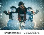 christmas new year snow concept ... | Shutterstock . vector #761308378