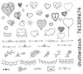 set of doodle elements on... | Shutterstock .eps vector #761309674