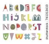 hand drawn doodle alphabet.... | Shutterstock .eps vector #761313610