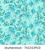 seamless vector floral pattern... | Shutterstock .eps vector #761313910