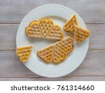 homemade waffles with berries | Shutterstock . vector #761314660