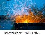orange fire bonfire flame... | Shutterstock . vector #761317870