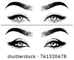 women eye with eyeliner. cat... | Shutterstock .eps vector #761320678