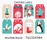 christmas labels and decoration  | Shutterstock .eps vector #761324584