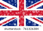 united kingdom winter flag with ... | Shutterstock . vector #761326384