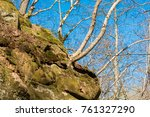 view of the rock covered with... | Shutterstock . vector #761327290