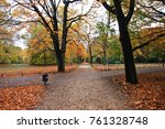 autumn in the park tiergarten ... | Shutterstock . vector #761328748
