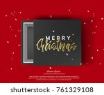 gift box with merry christmas... | Shutterstock .eps vector #761329108