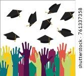 high school graduation.vector... | Shutterstock .eps vector #761337358