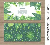 set of cards on tropical jungle ... | Shutterstock .eps vector #761342098