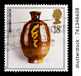 Small photo of MOSCOW, RUSSIA - OCTOBER 3, 2017: A stamp printed in Great Britain shows Pot by Bernard Leach, Pottery series, circa 1987
