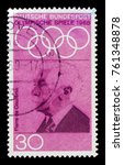 Small photo of MOSCOW, RUSSIA - OCTOBER 3, 2017: A stamp printed in Germany Federal Republic shows Baron Pierre de Coubertin (1862-1937), Summer Olympics 1968, Mexico City series, circa 1968