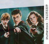 Small photo of MADRID, SPAIN - NOV 22, 2017: Daniel Radcliffe, Emma Watson and Rupert Grint on the Poster of the Wizarding world of Harry Poter experience in Madrid, Spain