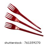 three red plastic forks... | Shutterstock . vector #761359270