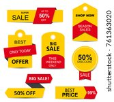 stickers  price tag  banner ... | Shutterstock .eps vector #761363020
