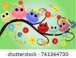 bright cute cartoon owls sit on ...   Shutterstock .eps vector #761364730