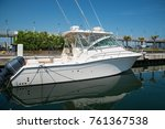 yacht in the port waiting.... | Shutterstock . vector #761367538