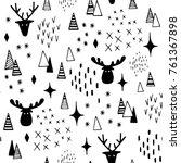 deer and elk in snow forest... | Shutterstock .eps vector #761367898
